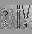 metal zip fasteners silver zippers puller set vector image