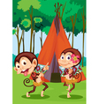 monkeys camping vector image vector image