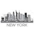 new york skyline in black and white color vector image vector image