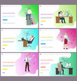 online business office workers with laptops pc vector image vector image