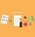 pareto analysis with businessman working on paper vector image