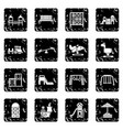 playground equipment icons set grunge vector image vector image