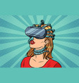 pop art woman in virtual reality gadget parasite vector image vector image