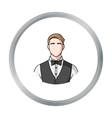 Restaurant waiter with a bow tie icon in cartoon vector image vector image