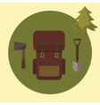 Small camping set backpack ax spade vector image