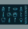 stomatology set icons blue glowing neon style vector image
