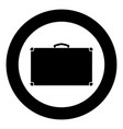 suitcase icon black color in circle vector image vector image