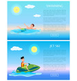 swimming and jet ski rest on sea summer time vector image vector image