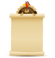 thanksgiving turkey holding parchment scroll menu vector image