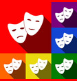 theater icon with happy and sad masks set vector image