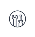 tools icon wrench and screwdriver in circle vector image vector image