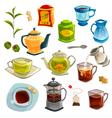 Types Of Tea Set vector image vector image