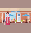 waitress holding tray with cocktails professional vector image