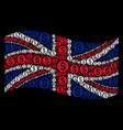 waving great britain flag collage of dollar coin vector image