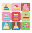 wedding cake pie sweets cards dessert bakery flat vector image vector image