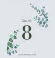 wedding table number card with eucalyptus leaves vector image