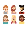 Woman emoji face icons vector image