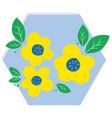 yellow flowers in blue hexagon vector image vector image