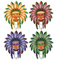 Four heads of native american indians vector image