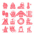 winter line icons sign and symbols in flat design vector image
