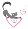 Background with black cats and hearts and place vector image