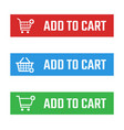 add to cart button set shopping trolley signs vector image vector image