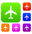 airplane set collection vector image vector image
