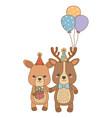 animals cartoons with happy birthday gift design vector image vector image