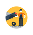 Auto repair shop worker in uniform with car check vector image vector image