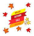autumn sale background with falling maple leaves vector image
