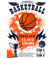 basketball sport game poster with ball and trophy vector image vector image