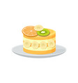 beautiful fruit cake poster vector image vector image