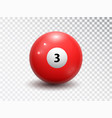 billiard ball number three isolated on transparent vector image