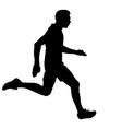 Black silhouettes runners sprint men on white