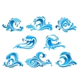 Blue sea and ocean waves or surf icons vector image vector image
