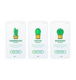 cactus and succulents in pots thin line icons set vector image vector image