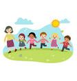 cartoon teacher and students vector image