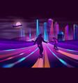 city extreme sports neon cartoon concept vector image vector image