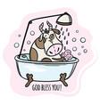 cow is washed in bath cartoon animal vector image