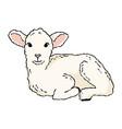 cute lamb doodle hand drawn image a small sheep vector image