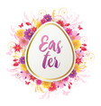 easter card with red and yellow flowers vector image