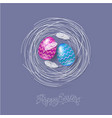 easter eggs feathers nest lettering vector image vector image