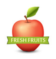 emblem with red apple and ribbon vector image vector image