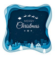 flying santa on night sky in city town scenery vector image vector image
