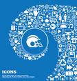 football helmet icon sign Nice set of beautiful vector image vector image