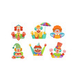 funny clowns collection cheerful circus cartoon vector image vector image