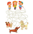 funny maze game help owners find their pets vector image vector image