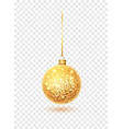 gold glitter christmas ball hanging christmas vector image vector image
