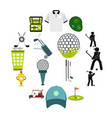 golf flat icons set vector image vector image