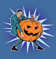 halloween pumpkin and businessman vector image